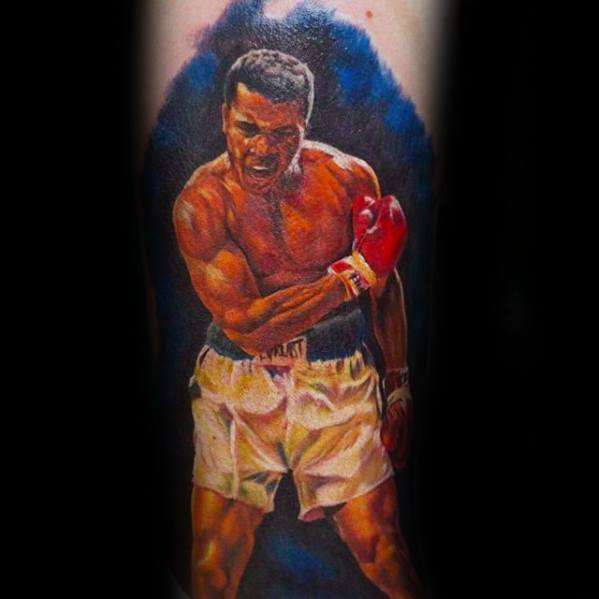 Male Muhammad Ali Tattoo Design Inspiration On Inner Forearm