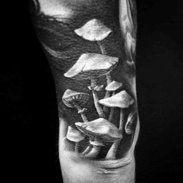 Male Mushroom Tattoo 3d Design Quarter Sleeve