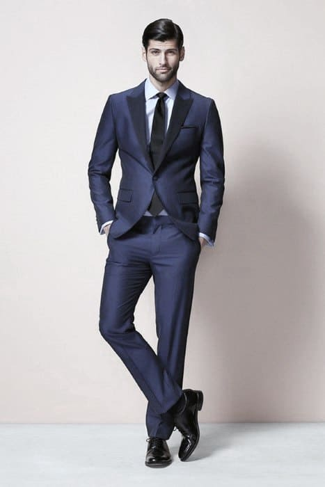 Male Navy Blue Suit Black Shoes Business Professional Clothing Styles