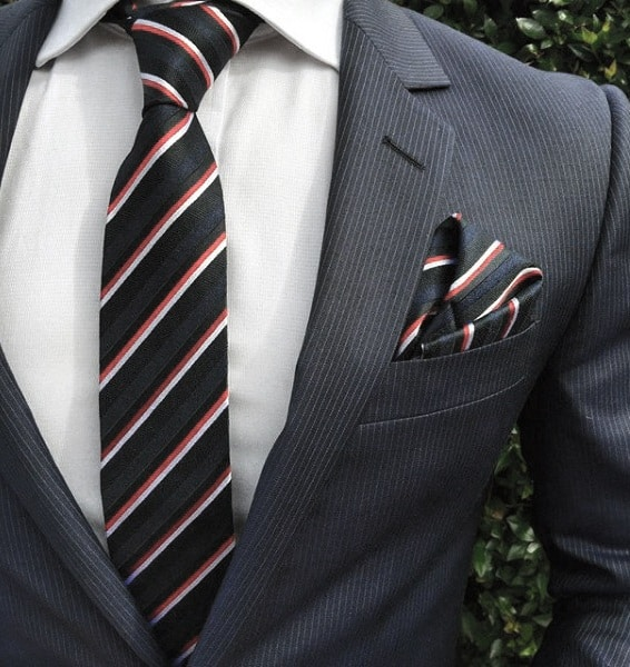 Male Navy Blue Suit Clothing Styles Red White And Black Striped Tie