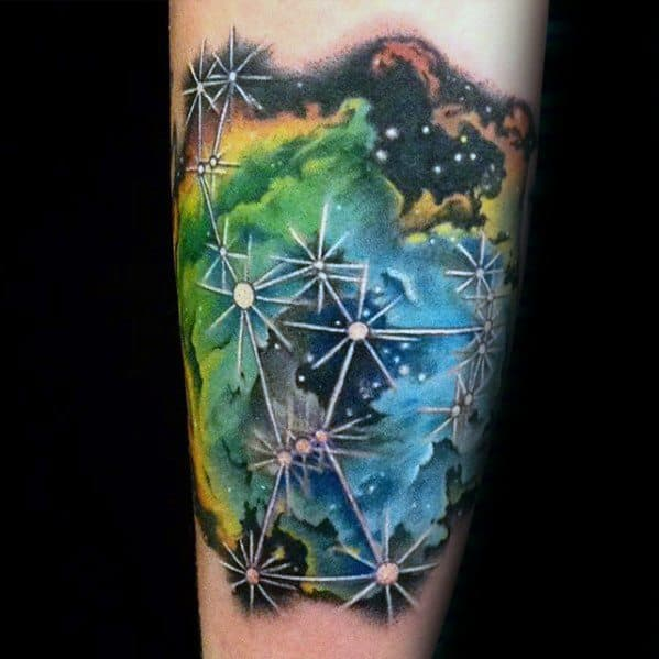 Male Nebula Tattoo Ideas On Forearm With Star Design