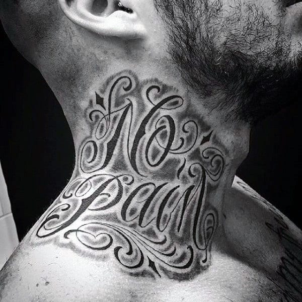 Male Neck No Pain Lettering Tattoo