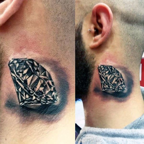 Male Neck Tattoo Of Diamond With Shading