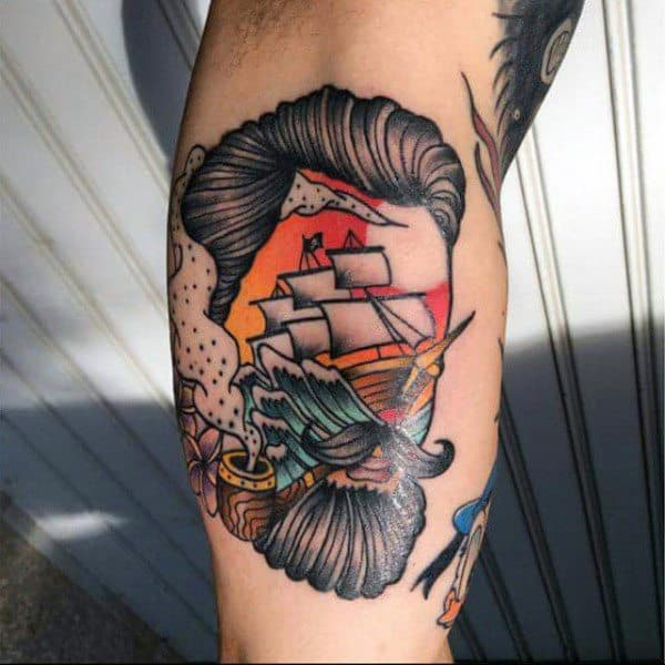 Male Neo Traditional Abstract Bicep Tattoo Ship On Sunset Surrounded By Bearded Man