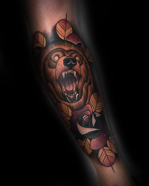 Male Neo Traditional Bear Themed Tattoo Inspiration