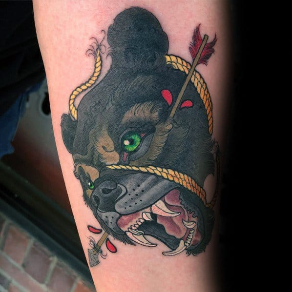Male Neo Traditional Bear Themed Tattoos
