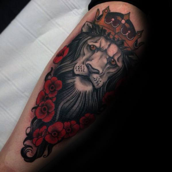 Male Neo Traditional Lion Tattoo Design Inspiration