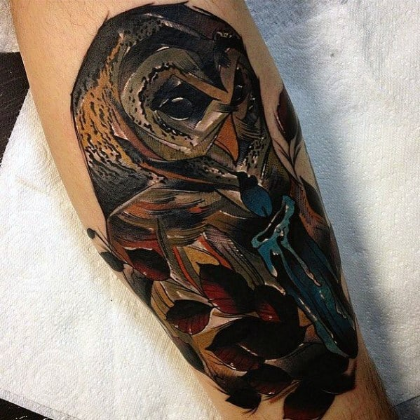 Male Neo Traditional Owl Themed Tattoos
