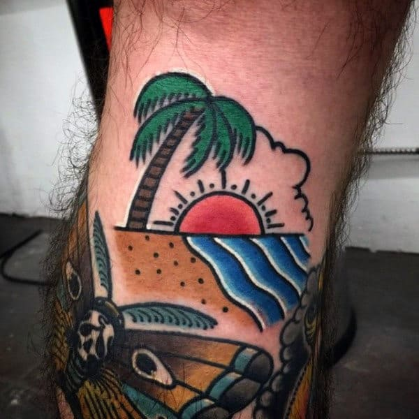 Male Neo Traditional Palm Tree And Ocean Sunset Forearm Tattoo