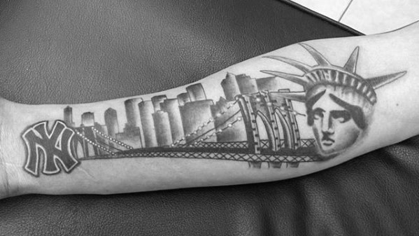 Male New York Skyline Inner Forearm Tattoo Design Inspiration