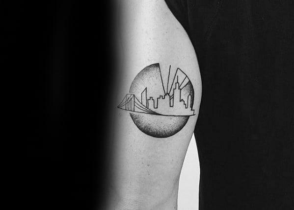Male New York Skyline Tattoo Ideas