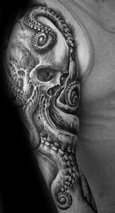 Male Octopus Skull Tattoo Ideas On Arm