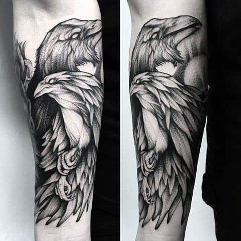 Male Odins Ravens Tattoo
