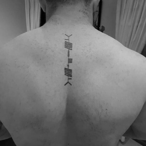 Male Ogham Tattoo Ideas Small Spine