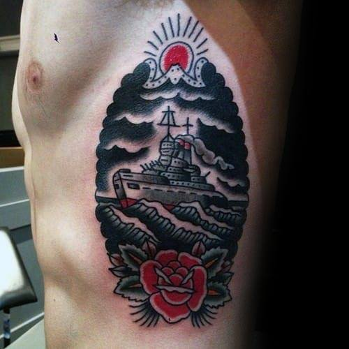 Male Old Schol Traditional Tattoo With Battleship And Rose Flower Design Rib Cage Side