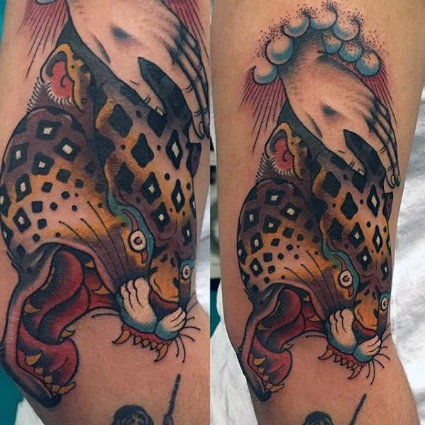 Male Old School Angry Cheetah Arm Tattoos