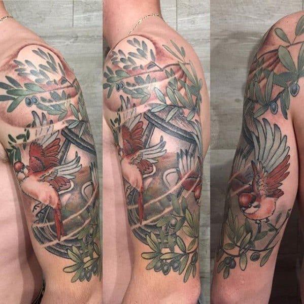 Male Olive Tree Tattoo Design Inspiration Half Sleeve