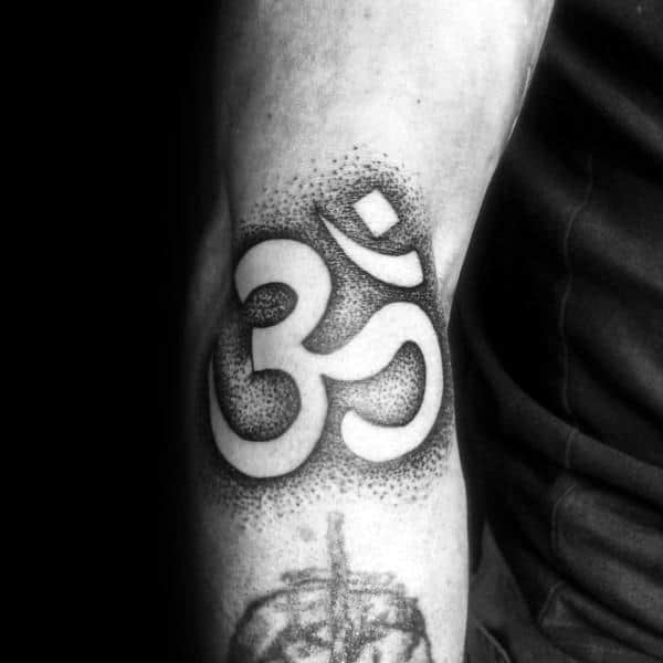 Male Om Arm Dotwork Black Ink Tattoos
