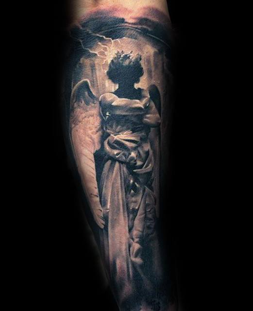 Male Outer Forearm Sleeve Angel Statue Tattoo Ideas