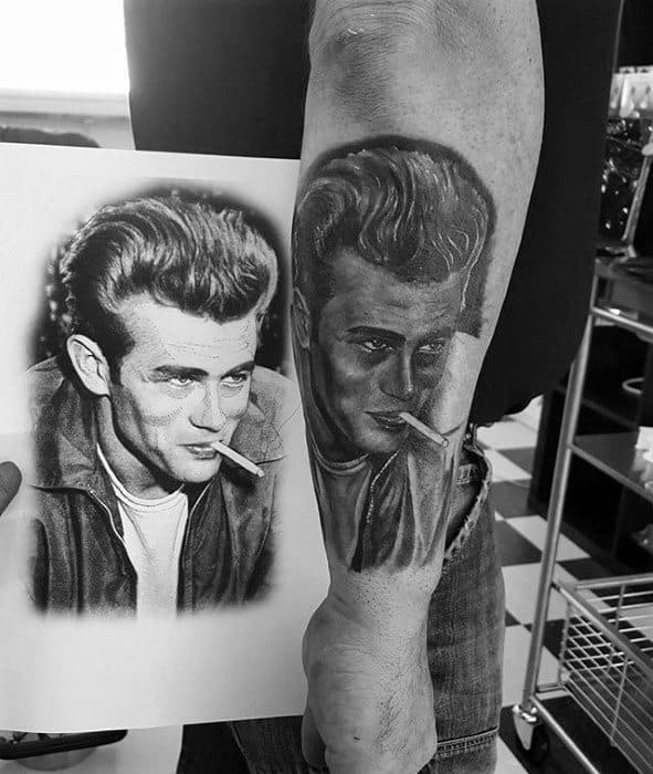 Male Outer Forearm Tattoo With James Dean Design