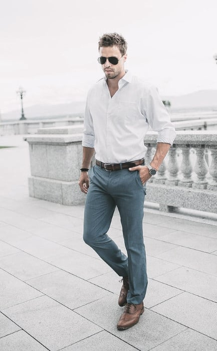 Male Outfit Ideas Business Casual Outfits Styles With White Dress Shirt Brown Shoes