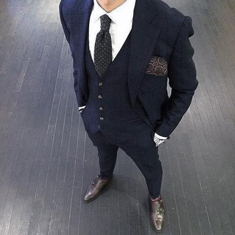 Male Outfit Ideas Navy Blue Suit Brown Shoes Styles