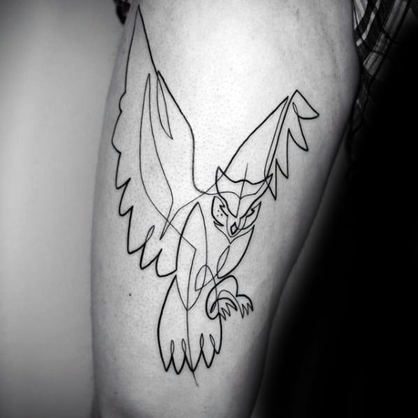 Male Outline Owl Tattoo Ideas