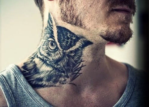 Male Owl Side Of Neck Tattoo Design Inspiration