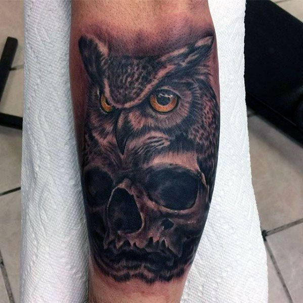 Male Owl Skull Tattoo Design Inspiration