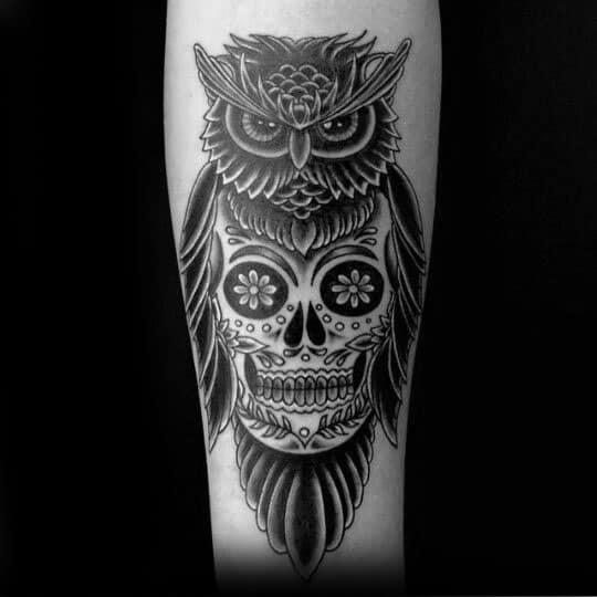 Male Owl Skull Tattoo Ideas