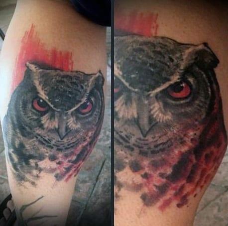 Red Male Owl Tattoo Design