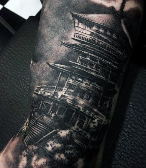Male Pagoda Tattoo Design Inspiration
