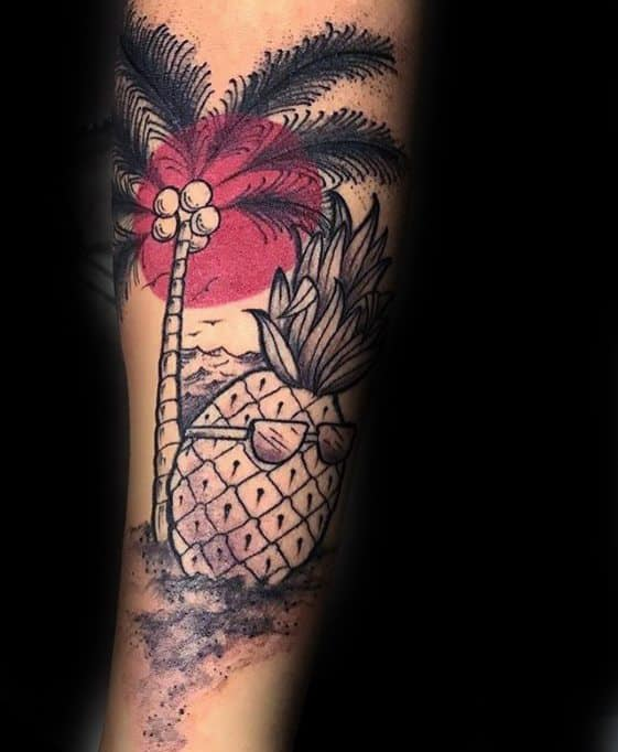 Male Palm Tree With Pineapple Wearing Sunglasses Forearm Tattoo