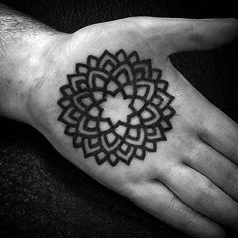 Male Palms Flower Pattern Tattoo