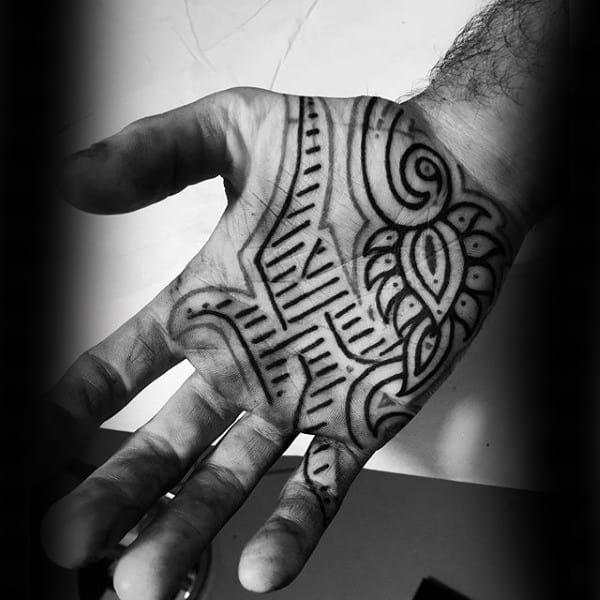 Male Palms Henna Pattern Tattoo