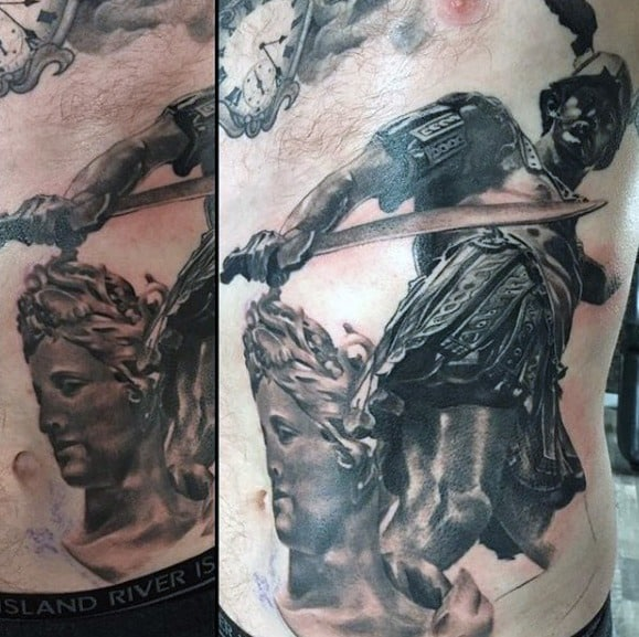 Male Perseus Rib Cage Side Of Body Tattoo Design Inspiration