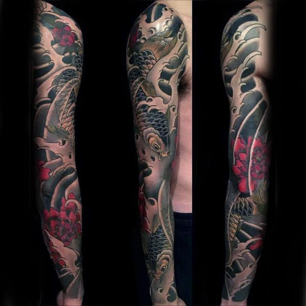 Male Phenomenal Japanese Sleeve Tattoo