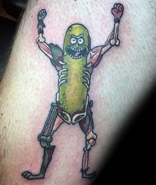 Male Pickle Rick Themed Tattoo Inspiration