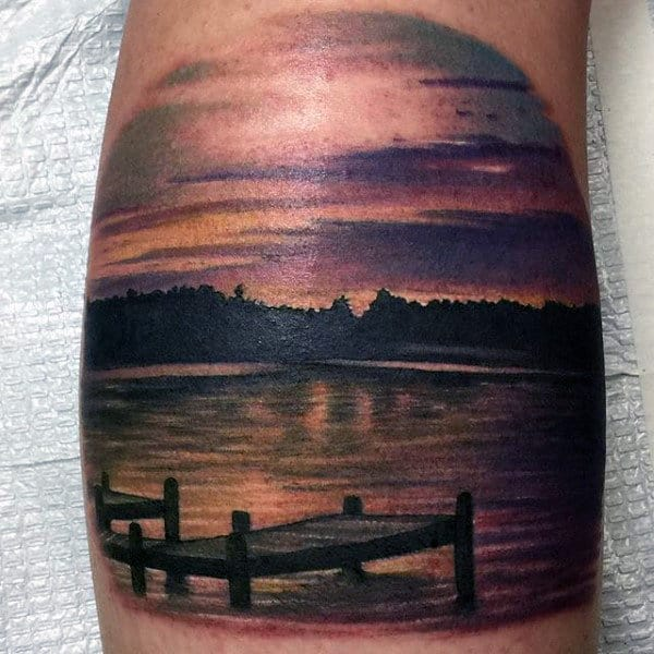 Male Pier On Lake At Sunset Calf Tattoo