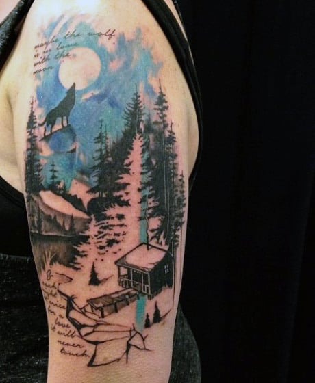 Wolf Howling Male Pine Tree Tattoos