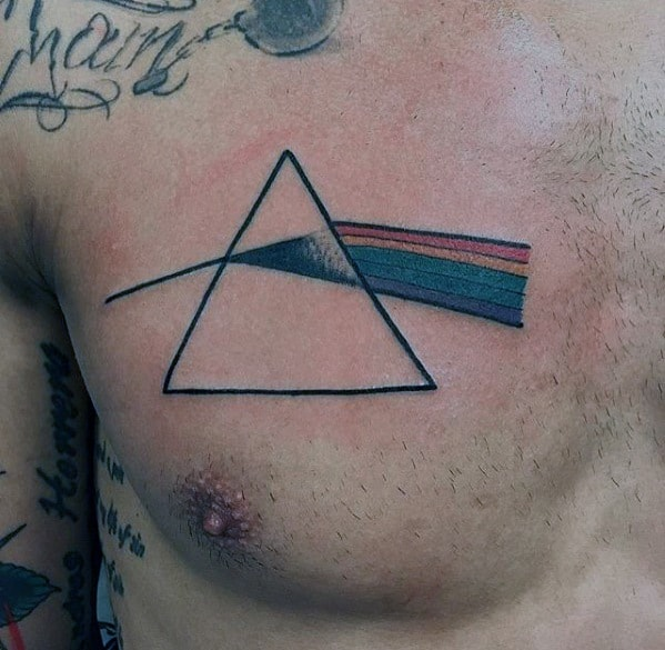Male Pink Floyd The Dark Side Of The Moon Tattoo Upper Chest