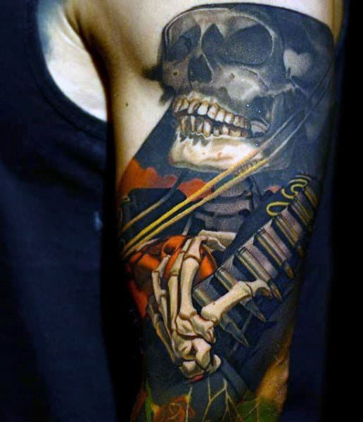 Male Pirate Skeleton Tattoo On Arm