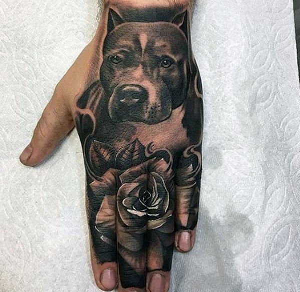 Male Pitbull Tattoo Design Inspiration On Hand