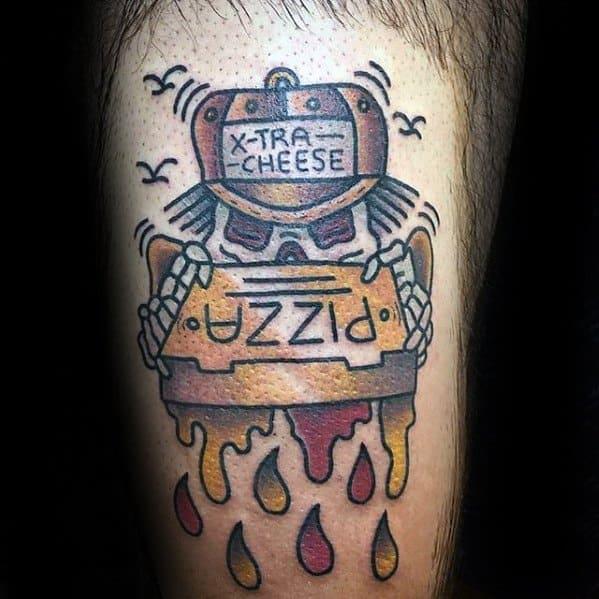 Male Pizza Box Skeleton Thigh Tattoo Design Inspiration