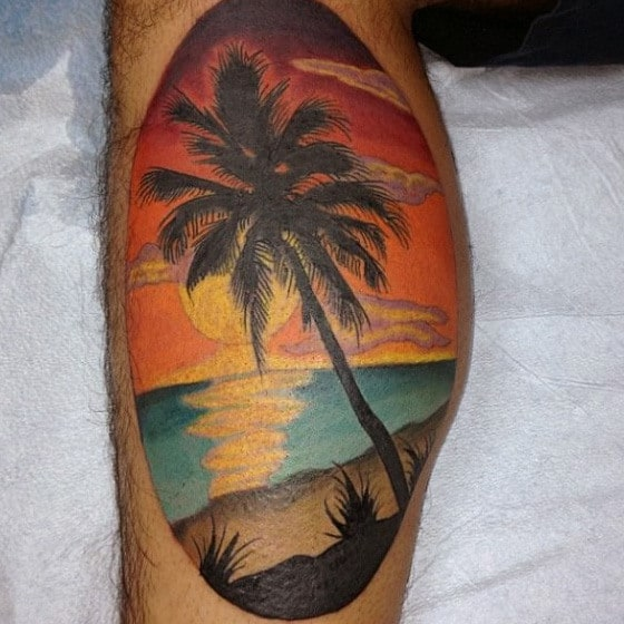 Male Plam Beach Calf Sunset Tattoo