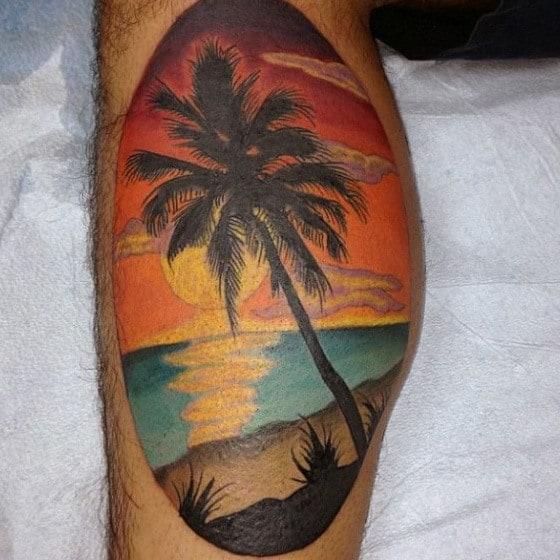 Male Plam Beach Calf Sunset Tattoo