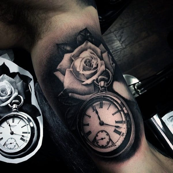 Male Pocket Watch Inner Arm Rose Flower Tattoos