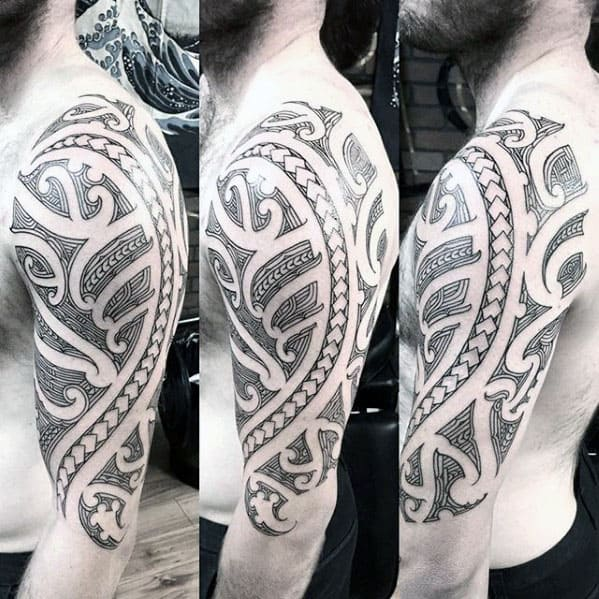 Male Polynesian Tribal Half Sleeve Tattoo