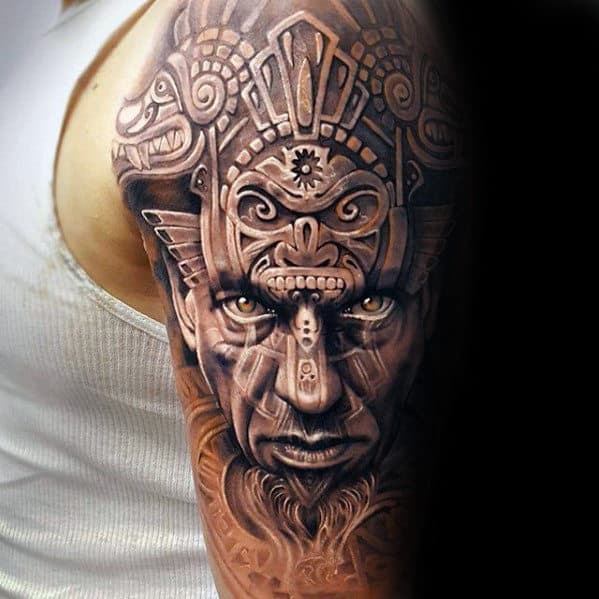 Male Portrait With Tribal Head Mens 3d Arm Tattoos