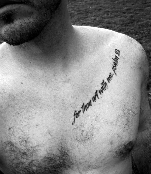 Male Psalm 23 Collar Bone Tattoo Ideas